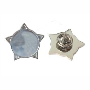 Superior Badge Blank star 18mm silver clutch and clear dome